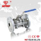 Válvula de esfera do aço inoxidável da flange do RUÍDO de Pn16 SS316 3PC