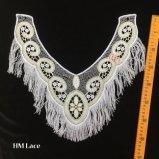 ворот шнурка сетки 38*36cm вышитый золотом с мягким вспомогательным оборудованием Hme907 Neckline Tassels