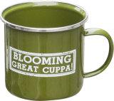 La impresión de logotipo de esmalte personalizados taza, la impresión de Logo blanco de la copa de metal esmaltado con borde de la llanta de acero inoxidable