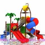 螺線形のスライドおよび二重スライド(WPE-cus001)が付いている安い子供水運動場