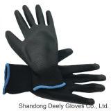 Revestimiento de Palma de PU negro sobre negro, camisa guantes de seguridad
