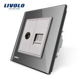 Socket de Computer&TV de la potencia de la pared de la cuadrilla de Livolo 2/enchufe Vl-C791vc-11/12/13/15