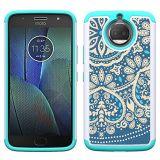 Moto G5s plus le cas de double couche en silicone de protection en plastique à usage intensif Housse pour Motorola Moto G5S Plus - Fleur Bleue