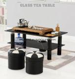 Tabella di tè di vetro doppia di vetro di tempera nera