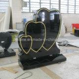 Headstone nero di figura del cuore di triplo del granito dello Shanxi