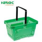 Il carrello di plastica variopinto spinge il cestino per il supermercato