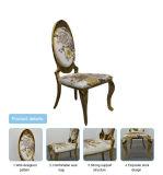 Foshan-ovaler Höhen-Rückseiten-GoldtitanEdelstahl-weißes Leder, das Stuhl mit Ziehen- von Halbleiterkristallenfaltenbildungen für Hochzeits-Ereignis-Bankett speist