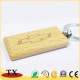 Rectangle personnalisé de chaîne de clé de bois Le bois de la chaîne de clé