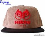 Изготовленный на заказ шлем бейсбола крышки Snapback замши Brown