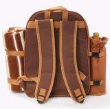 Пикника вина 4 персон Backpack мешка водоустойчивого установленный с более холодным отсеком