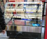까만 Mirror 스테인리스 2 선반을%s 가진 기초에 의하여 구부려지는 문 케이크 진열장