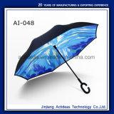 Рекламные автоматически открывать C Форма ручки Double Layer зонтик заднего хода