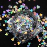 Хлопья яркия блеска украшения искусствоа ногтя пыли лазера Holo сформированные сердцем