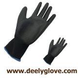 Gants fonctionnants noirs enduits de paume d'unité centrale de nylon/polyester