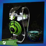 Sostenedor bajo de acrílico movible del receptor de cabeza de la visualización del soporte del auricular