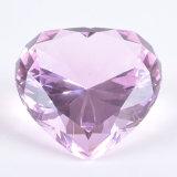 Rosa romántico Corazón Cristal pisapapeles de diamantes