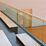"""Inferriata di vetro della scanalatura a """"u"""" del balcone dell'edificio in condominio con il corrimano d'acciaio"""