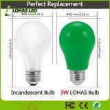 Do partido decorativo verde da ampola 3W do diodo emissor de luz de Non-Dimmable ampola com base E26