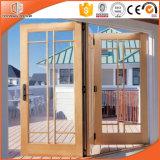 Puerta de plegamiento de cristal de madera revestida de aluminio, talla modificada para requisitos particulares y puerta de plegamiento de aluminio de la última rotura termal del diseño