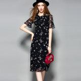 Rüsche-Muffen-Kurzschluss-Hülsen-Höhlung-Taillen-Spitze-Silk Frauen-Kleid