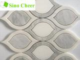Azulejo de mármol blanco y gris de la dimensión de una variable de hoja de mosaico