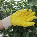 Nitril tauchte Handschuhe bearbeiten schützendes Sicherheits-Arbeits-Handschuh-Gelb ein