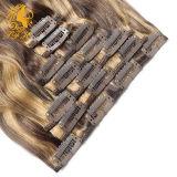 Clip en la extensión del pelo del 100% Remy de la Virgen del pelo humano