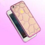 최신 신제품 물 입방체 3D 전화 상자 iPhone 6 이동 전화 부속품 상자를 위한 내진성 Electroplated 금 가장자리 TPU 덮개 케이스