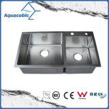 O melhor preço Double-Bowl Man-Made Dissipador de Aço Inoxidável (ACS8245A2)