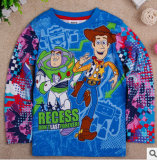 Le printemps et en automne et de la nouvelle période de garçons de la conception de dessins animés à manchon long coton T-shirt du commerce extérieur les vêtements pour enfants