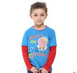 2014 Nouveau mode de vêtements pour enfants garçon à manches longues en coton T-shirt col rond A3213