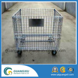 Jaula plegable del almacenaje del rectángulo del acoplamiento de alambre de metal de Folable con Truckle