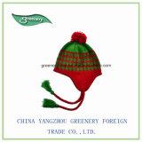 昇進の赤いおよび緑の正常なEarflapの冬の帽子