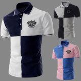 Camisa de polo de los nuevos del diseño de la buena calidad del piqué del contraste del color hombres del bordado