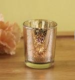 水星の銀または曇らされた多彩か明確なガラス蝋燭ホールダーまたは蝋燭のコップ
