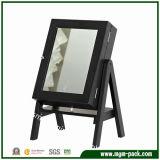 Caixa de Armazenamento de joalharia Cosméticos de madeira com espelho