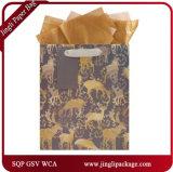 O papel de embalagem de Brown Ensaca sacos impressos torcidos novos do saco de papel de sacos de compra do papel do projeto