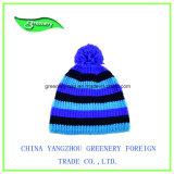 Chapéu listrado azul novo do Knit do Beanie do inverno