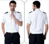 バッジが付いているカスタム良質の白い警備員の均一ワイシャツ