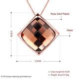형식 K 금 다이아몬드 모양 도금되는 유리제 펀던트 목걸이 로즈 금