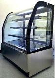 Vidro curvo do refrigerador de Exibição de padaria em aço inoxidável, Padaria Frigorífico Showcase