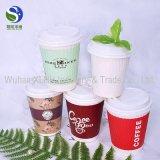 Tazas de café de papel de encargo disponibles de la pared 12oz del doble de la insignia con las tapas