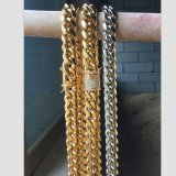 Fermoir de Diamant Or collier de la chaîne de liaison cubaine pour les hommes