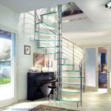 Escalera en espiral de acero inoxidable con vidrio laminado el ancho de vía