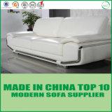 Sofà bianco del salone del cuoio dello strato impostato con acciaio inossidabile
