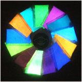 Polvere luminescente al neon, incandescenza nei pigmenti scuri della vernice