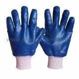 Prueba de químicos del aceite pesado NBR Jersey Algodón Guantes de nitrilo azul completamente