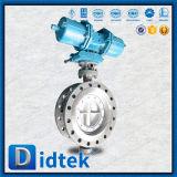 Válvula de mariposa actuada neumática excéntrica triple del acero inoxidable de Didtek