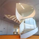Escadaria curvada de vidro do aço inoxidável do corrimão dos trilhos da longarina para interno