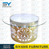 LEDの家具のダイニングテーブルの一定の円卓会議のガラスダイニングテーブル